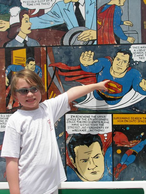 Max with Superman Panels